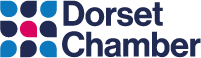 Dorset Chamber pink and blue flower logo
